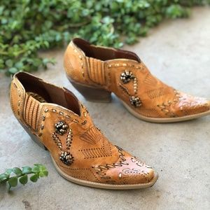 BCBGirls Cognac Embroidered Western Cowboy Booties